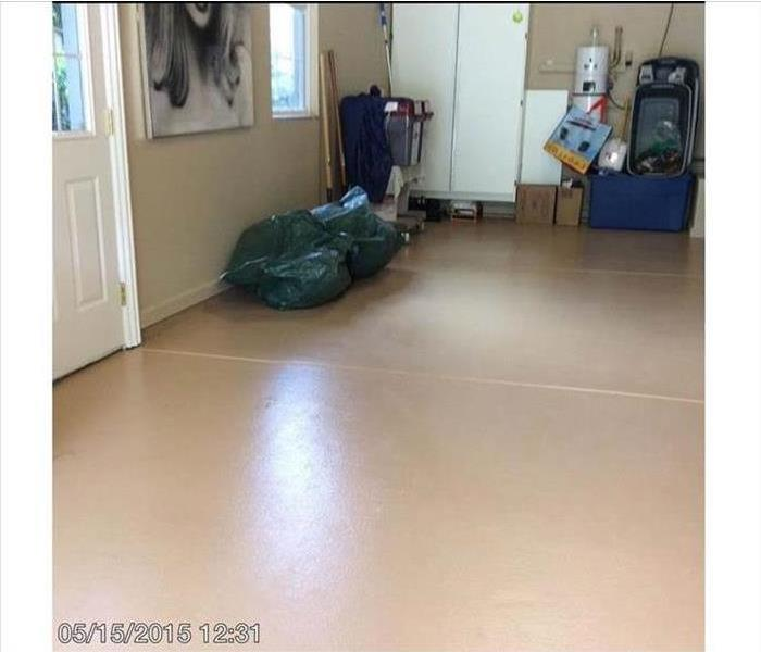 Garage with clean floor and no soot or fire damage