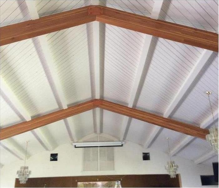 Same church ceiling cleaned of all soot and smoke damage