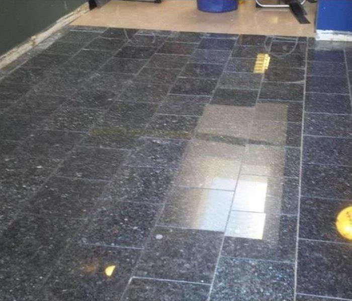 New tile floor installed in a commercial building