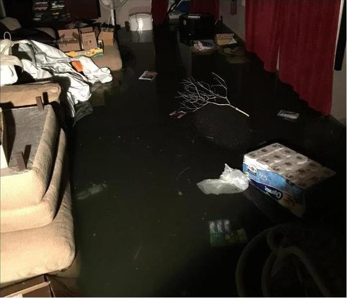 Basement flooded by several inches of water with items floating in the water